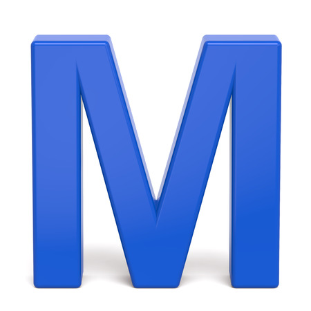 3d plastic blue letter M isolated on white background Stock Photo