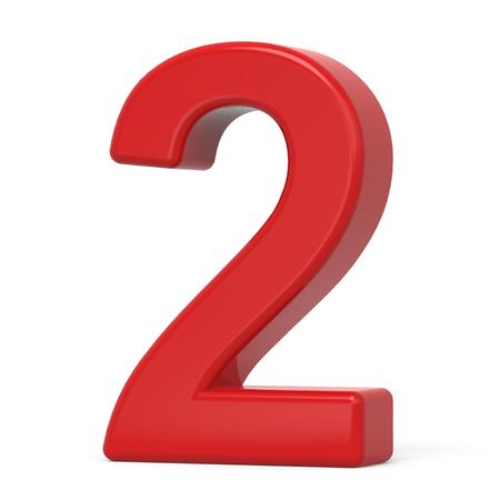 3d plastic rood nummer 2 op een witte achtergrond