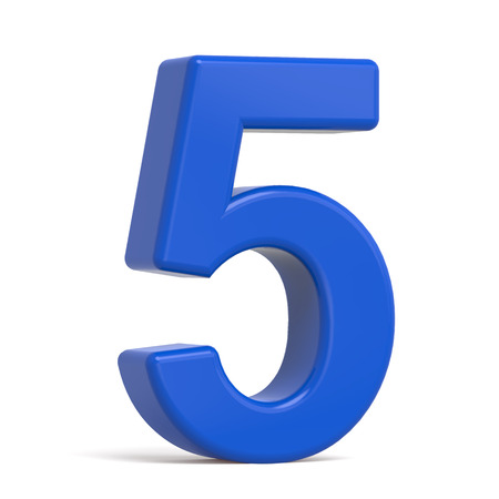 number 5: 3d plastic blue number 5 isolated on white background