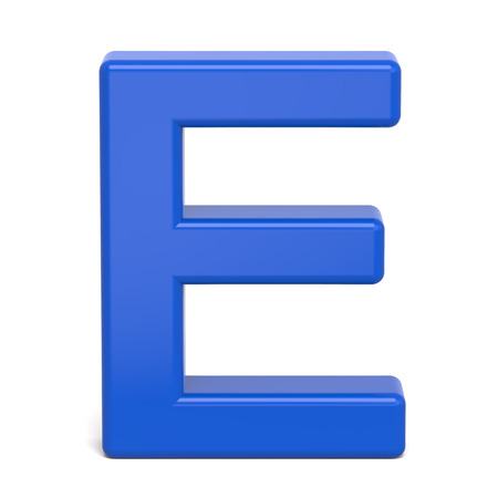 3d plastic blue letter E isolated on white background Stock Photo