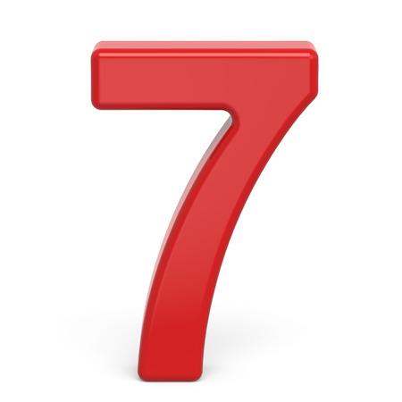 number 7: 3d plastic red number 7 isolated on white background Stock Photo