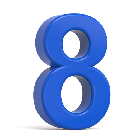 number 8: 3d plastic blue number 8 isolated on white background Stock Photo