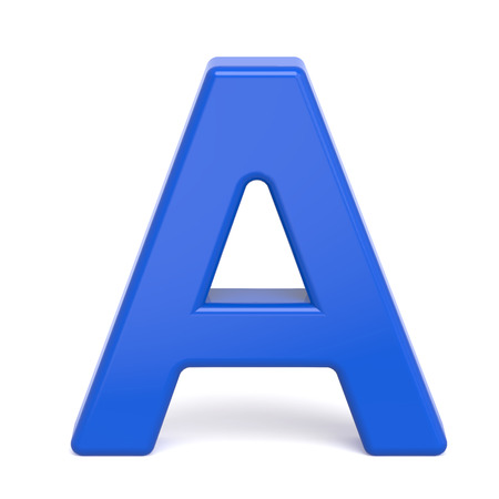 3d plastic blue letter A isolated on white background Stock Photo - 50252498