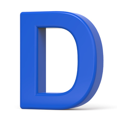 d: 3d plastic blue letter D isolated on white background