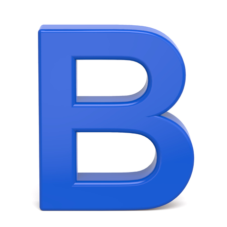3d plastic blue letter B isolated on white background