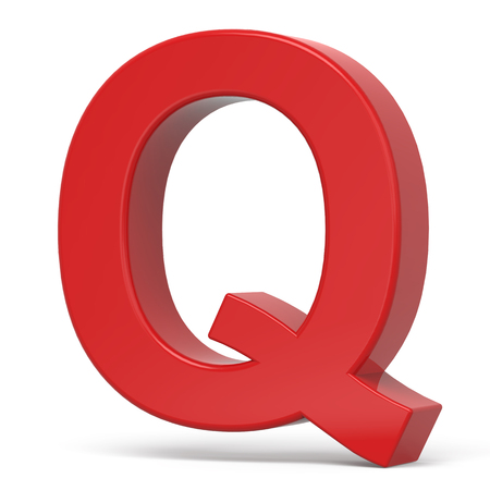 letter q: 3d plastic red letter Q isolated on white background