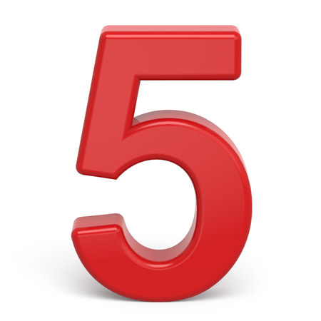 number 5: 3d plastic red number 5 isolated on white background Stock Photo