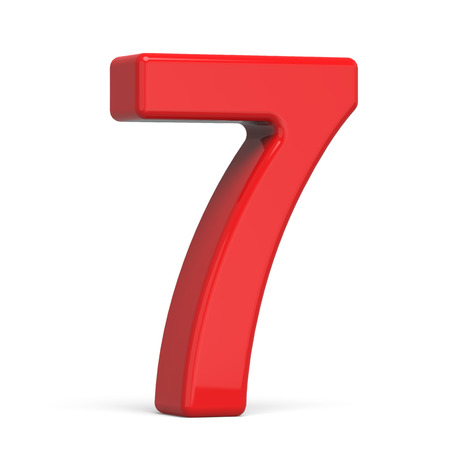 3d plastic red number 7 isolated on white background Stock Photo