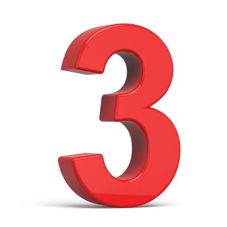 3d plastic rood nummer 3 op een witte achtergrond Stockfoto