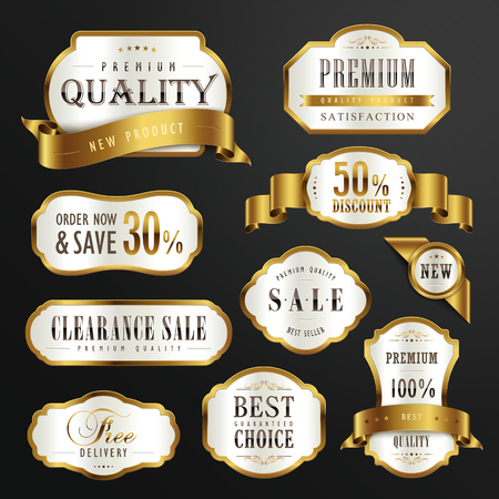 label sticker: collection of premium quality golden labels design set