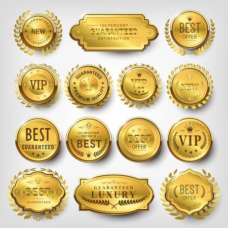 gold label: collection of attractive golden labels design set Illustration