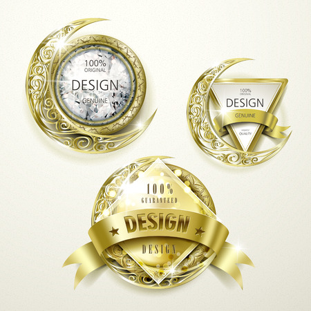 sumptuous: collection of sumptuous gold and jewelry labels design set Illustration
