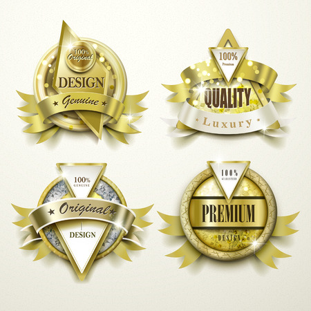 best quality: collection of sumptuous gold and jewelry labels design set Illustration