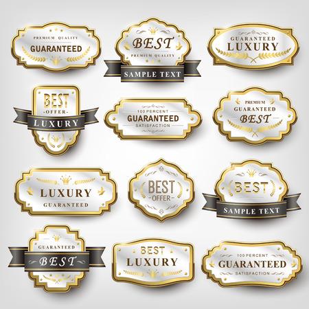 collection of pearl white elegant emblem design set