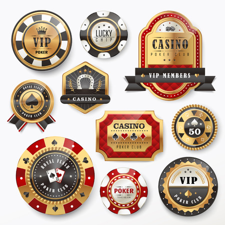 casino chip: collection of gorgeous casino golden labels design set