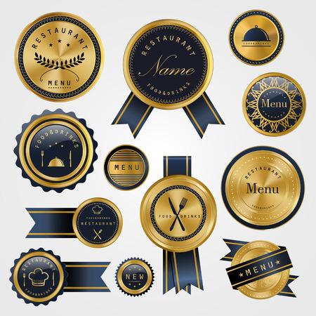 プレミアム レストラン ゴールデン ラベル デザインのコレクション セット