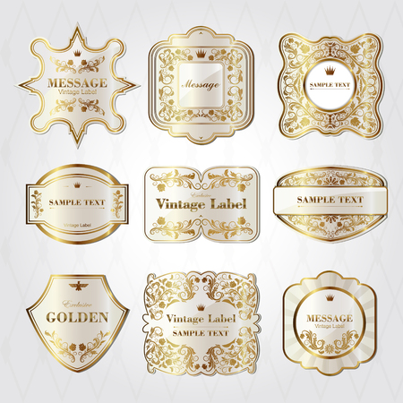 baroque pearl: collection of baroque style pearl white labels design set