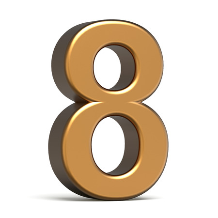 number 8: 3d glossy gold number 8 isolated on white background Stock Photo