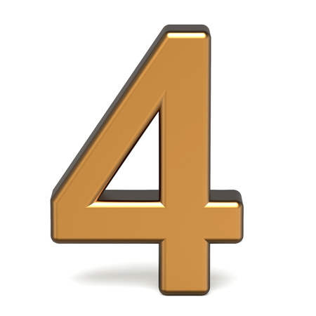 number 4: 3d glossy gold number 4 isolated on white background Stock Photo