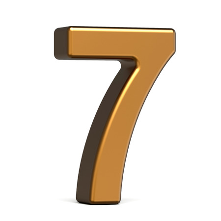 number 7: 3d glossy gold number 7 isolated on white background