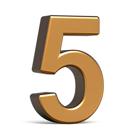 number 5: 3d glossy gold number 5 isolated on white background Stock Photo