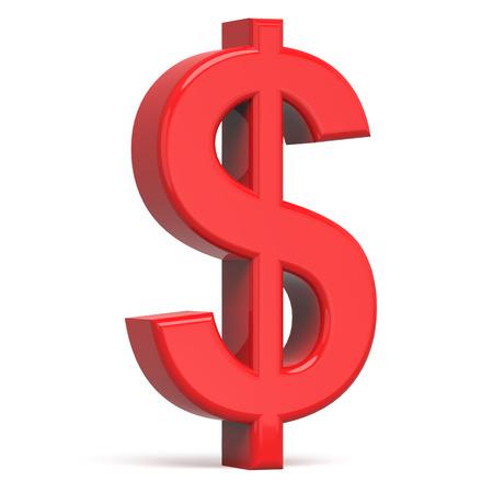3D rood dollarteken op een witte achtergrond