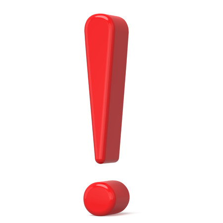 interjection: 3D red exclamation mark isolated on white background