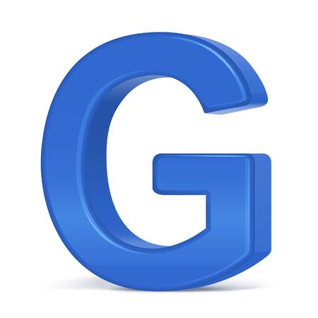 3d plastic blue letter G isolated on white background Illusztráció