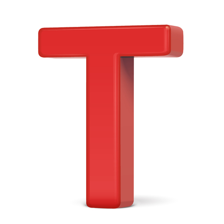 t background: 3d plastic red letter T isolated on white background Illustration
