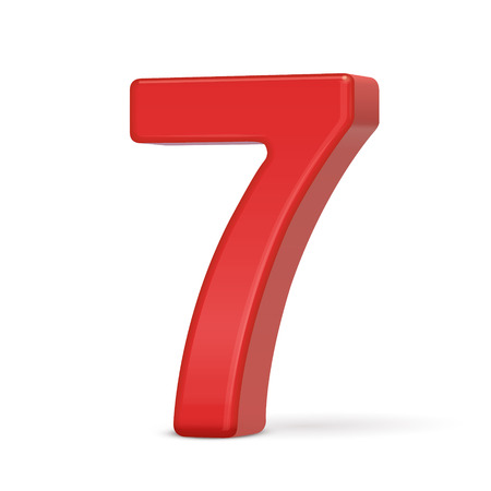 number 7: 3d plastic red number 7 isolated on white background Illustration