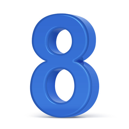 number 8: 3d plastic blue number 8 isolated on white background Illustration