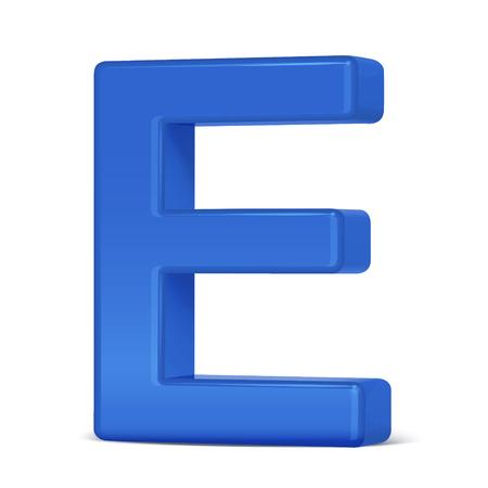 e white: 3d plastic blue letter E isolated on white background Illustration