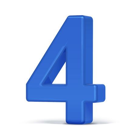 plastique 3d bleu numéro 4 isolé sur fond blanc Vecteurs