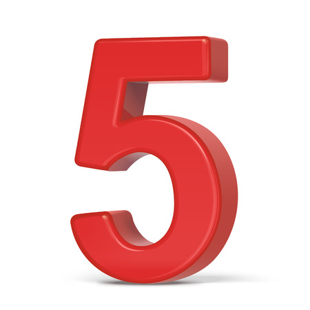 number 5: 3d plastic red number 5 isolated on white background Illustration