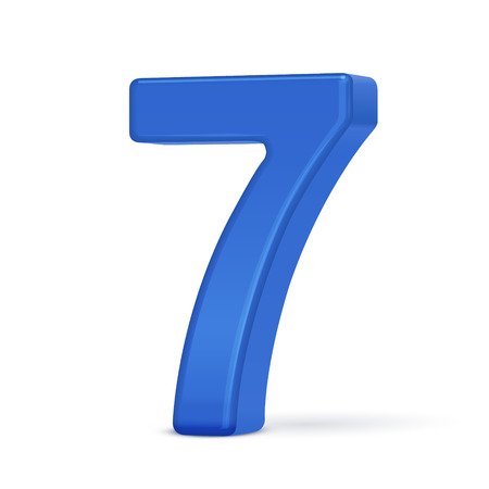 number 7: 3d plastic blue number 7 isolated on white background