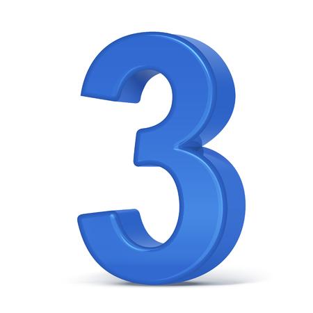 3d plastic blauwe nummer 3 geïsoleerd op witte achtergrond Vector Illustratie