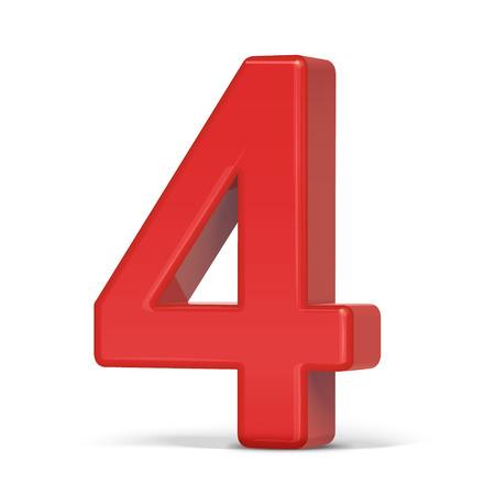 plastique 3d numéro 4 rouge isolé sur fond blanc
