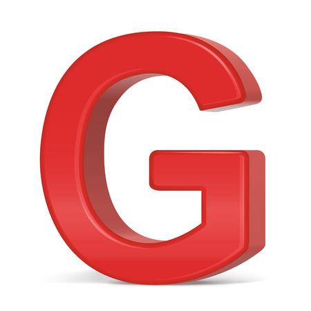 3d plastic red letter G isolated on white background Illusztráció