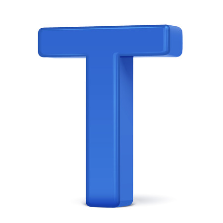 t background: 3d plastic blue letter T isolated on white background Illustration