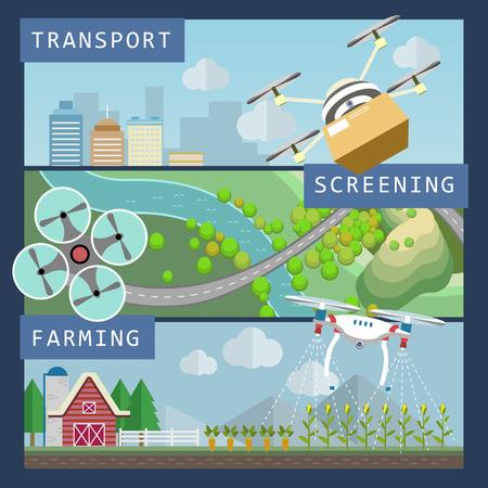 Applicazioni droni concetto di stile di design piatto Archivio Fotografico - 52010319