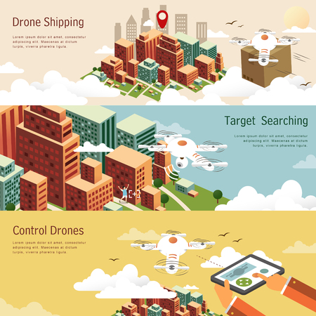 drones applications in different fields in flat design