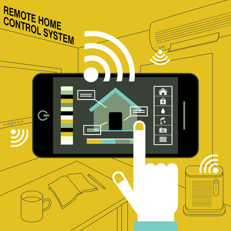 control system: smart home - remote control system in flat design style