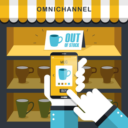 convenient store: combination of omni-channel experience in flat design