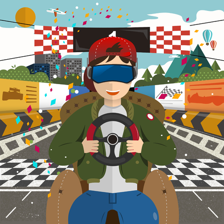 virtual reality - racing indoor in flat design Illustration