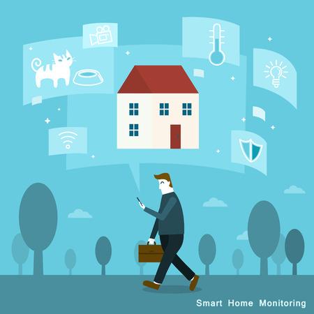 inteligente concepto de vigilancia de la casa en el estilo de diseño plano