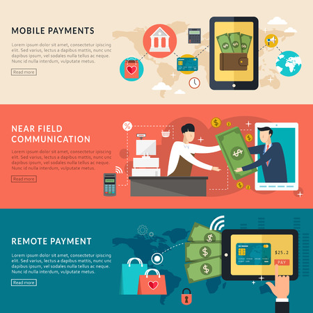 mobile payments concept in flat design style