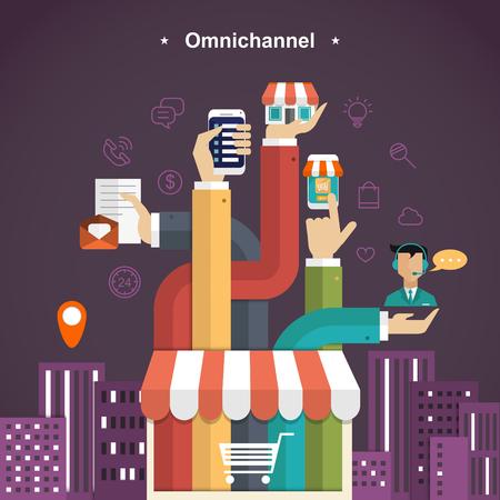 experiencia de compra en todos los canales en el estilo de diseño plano Ilustración de vector