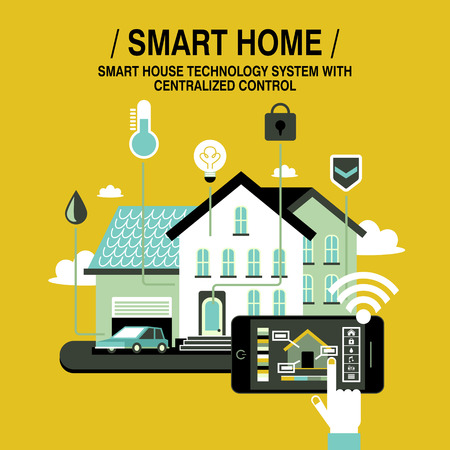 smart home concept in flat design style