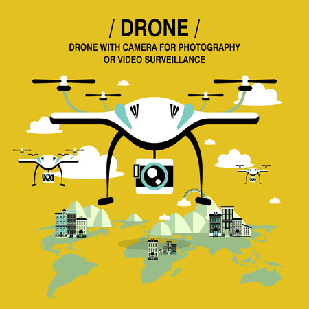 camera surveillance: drones screening and surveillance in flat design style