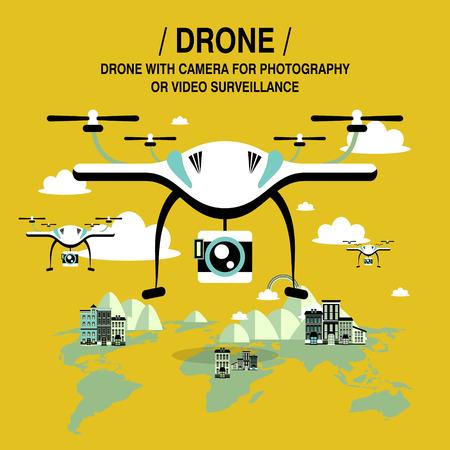 surveillance camera: drones screening and surveillance in flat design style